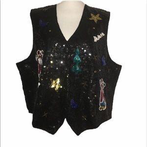 Ugly Xmas QUACKER FACTORY Sz 2X Black Sequin Vest
